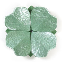 four-leaf origami clover with a flat base