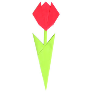 How to make origami tulip easy tulip with two leaves mightylinksfo