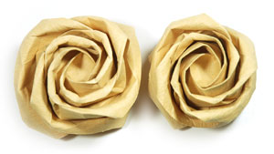 Fuller-bloom new Kawasaki paper origami rose flower image