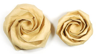 Fullest-bloom new Kawasaki paper origami rose flower image