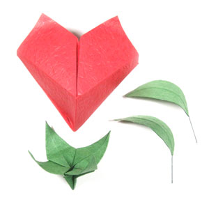 Valentines Origami Heart Flower Back Side Of Paper
