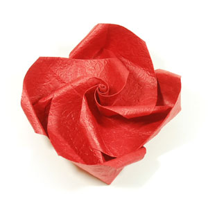 Valentine origami rose paper flower: front side of paper